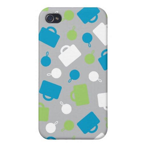 Caja azul de la mota iPhone4 del equipaje retro iPhone 4/4S Carcasas