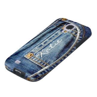 Caja azul de Samsung s4 de los vaqueros del dril d Funda Galaxy S4