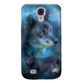 Caja azul del arte del lobo para el iPhone 3