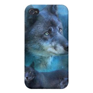 Caja azul del arte del lobo para el iPhone 4 iPhone 4 Carcasas