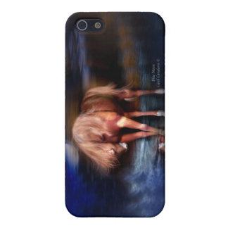 Caja azul del arte del Luna-Caballo para el iPhone iPhone 5 Cobertura