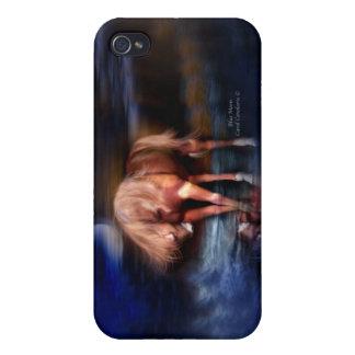 Caja azul del arte del Luna-Caballo para el iPhone iPhone 4 Funda
