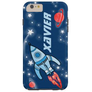 Caja azul del espacio exterior del cohete de la funda para iPhone 6 plus tough