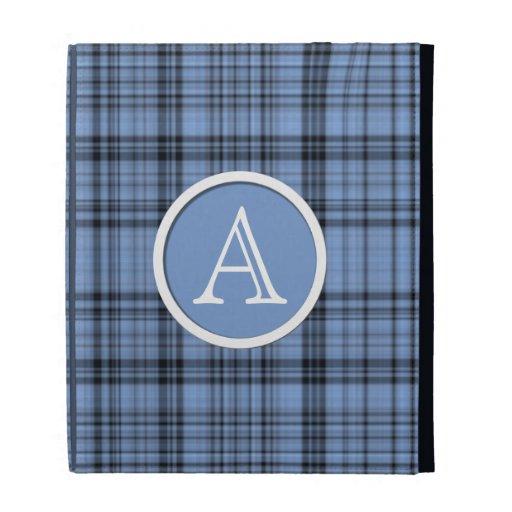 Caja azul del folio del iPad de la tela escocesa d