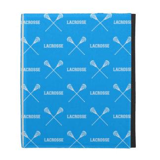 Caja azul del folio del iPad de los palillos de La