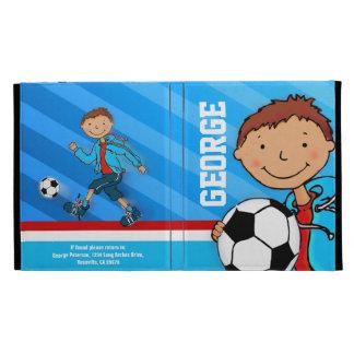 Caja azul del folio del ipad del fútbol de los niñ