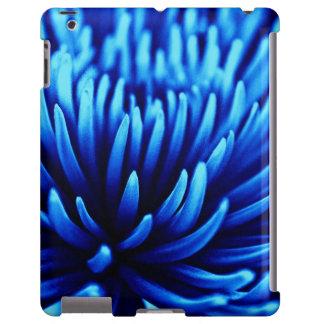 Caja azul del iPad de la flor del crisantemo