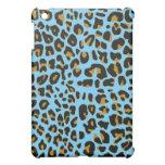 Caja azul del ipad de la piel de Jaguar