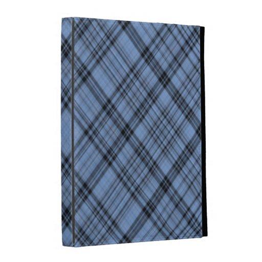 Caja azul del iPad de la tela escocesa del Cornflo