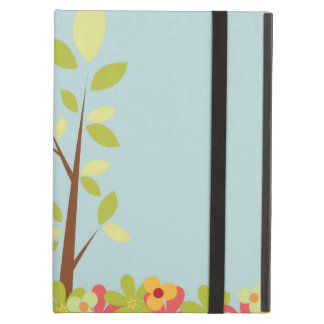 caja azul del iPad del árbol de las flores