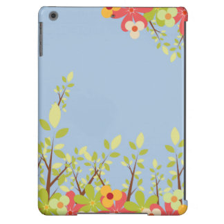 caja azul del iPad del jardín de flores