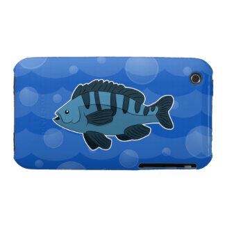 Caja azul del iPhone 3/3G de los pescados del Case-Mate iPhone 3 Carcasa