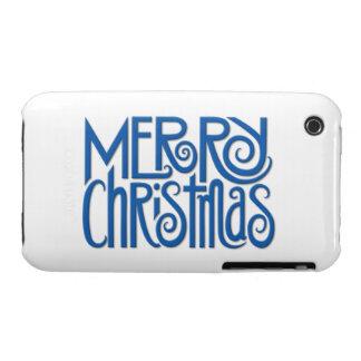 Caja azul del iPhone 3G 3GS de las Felices Navidad iPhone 3 Case-Mate Coberturas