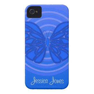 Caja azul del iPhone 4/4S de la mariposa Case-Mate iPhone 4 Carcasas