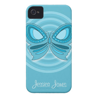 Caja azul del iPhone 4/4S de la mariposa iPhone 4 Cárcasas