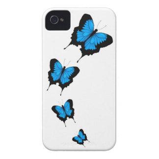 Caja azul del iPhone 4/4s de la mariposa iPhone 4 Fundas