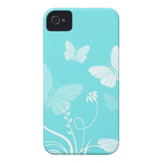 Caja azul del iPhone 4/4S de las mariposas iPhone 4 Case-Mate Cárcasa
