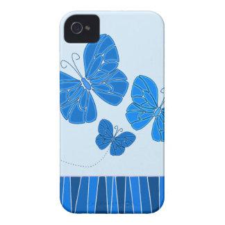 Caja azul del iPhone 4/4S de las mariposas iPhone 4 Cárcasa