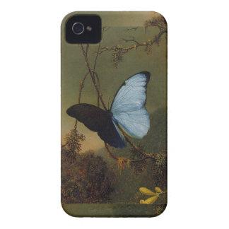 Caja azul del iPhone 4/4S del vintage de la maripo iPhone 4 Case-Mate Carcasas