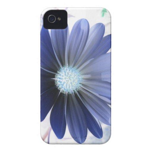 Caja azul del iPhone 4 de la margarita que brilla  iPhone 4 Case-Mate Protectores