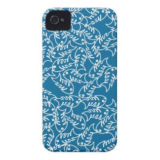 Caja azul del iPhone 4 de las espinas de pez iPhone 4 Carcasas