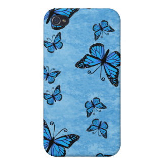 Caja azul del iPhone 4 de las mariposas del monarc iPhone 4 Coberturas