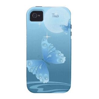 Caja azul del iPhone 4 de las mariposas iPhone 4 Funda