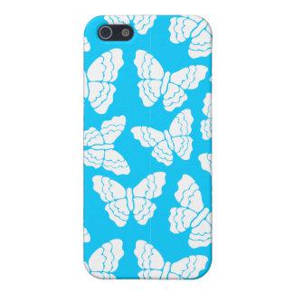 Caja azul del iPhone 4 de las mariposas iPhone 5 Carcasa