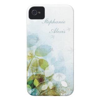 Caja azul del iphone 4 de los pájaros del follaje iPhone 4 protectores