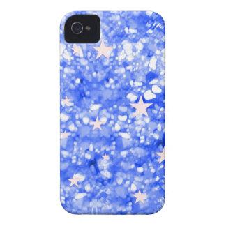 Caja azul del iphone 4 del brillo y de las estrell iPhone 4 Case-Mate cobertura