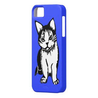 Caja azul del iPhone 5/5s del gato blanco y negro iPhone 5 Fundas