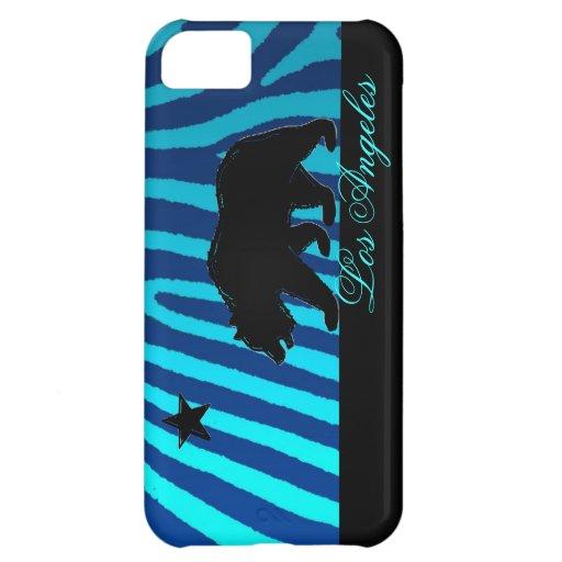 Caja azul del iphone 5 de la cebra de Los Ángeles  Funda Para iPhone 5C