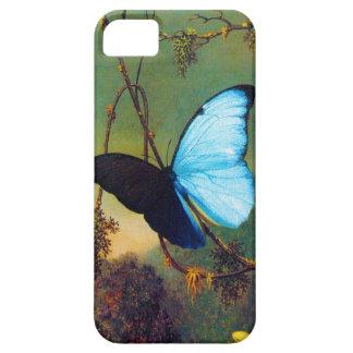 Caja azul del iPhone 5 de la mariposa de Morpho iPhone 5 Protectores