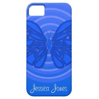 Caja azul del iPhone 5 de la mariposa iPhone 5 Fundas