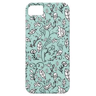 Caja azul del iPhone 5 del cordón de la flor iPhone 5 Fundas