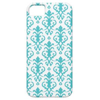 Caja azul del iPhone 5 del damasco de la aguamarin iPhone 5 Case-Mate Protectores