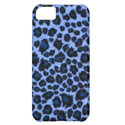 Caja azul del iPhone 5 del estampado leopardo