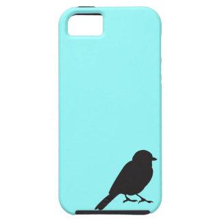 Caja azul del iPhone 5S de la silueta del gorrión iPhone 5 Case-Mate Coberturas