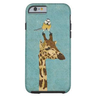 Caja azul del iPhone 6 de la jirafa y del pequeño Funda Para iPhone 6 Tough