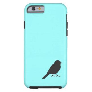 Caja azul del iPhone 6 de la silueta del gorrión