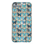 Caja azul del iPhone 6 de las mariposas del Funda De iPhone 6 Barely There
