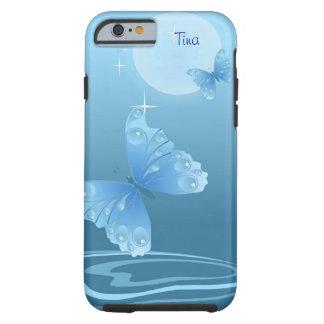 Caja azul del iPhone 6 de las mariposas Funda Para iPhone 6 Tough