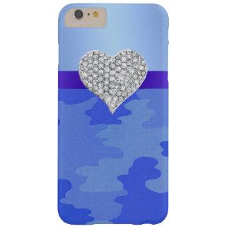 Caja azul del iPhone 6 del corazón del diamante Funda De iPhone 6 Plus Barely There