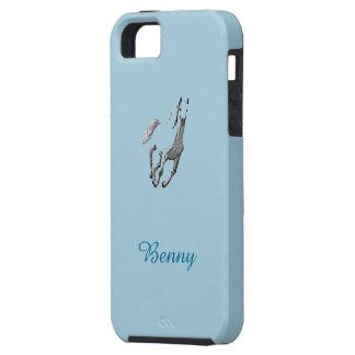 Caja azul del iPhone de Benny con el caballo iPhone 5 Carcasas