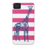 Caja azul del iPhone de la jirafa de la raya rosad iPhone 4 Case-Mate Coberturas
