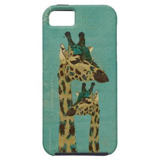Caja azul del iPhone de las jirafas de Boho Funda Para iPhone 5 Tough