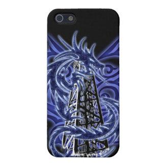 Caja azul del iPhone del campo petrolífero del dra iPhone 5 Fundas