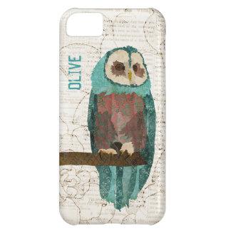 Caja azul del iPhone del vintage del búho Funda Para iPhone 5C