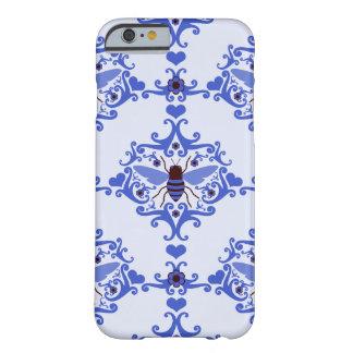 Caja azul del modelo del papel pintado del damasco funda de iPhone 6 barely there