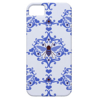 Caja azul del modelo del papel pintado del damasco iPhone 5 coberturas